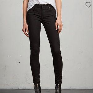 All Saints Mast Skinny Low Rise Black Jeans Sz 27